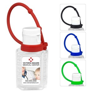 """SanPal Connect"" 1.0 Oz. Compact Hand Sanitizer Antibacterial Gel w/ Silicone Leash"