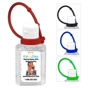 """SanPal S Connect 0.5 Oz. Compact Hand Sanitizer w/Colorful Silicone Leash - Multi-color Vinyl Label"