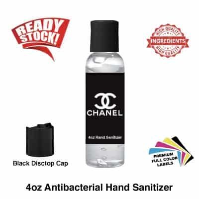 4 oz Antibacterial Hand Sanitizer Gel 4 ounces BLACK Label In Stock
