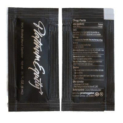 Hand Sanitizer Sachet Gel Packet Black