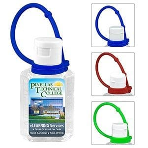 2 oz Hand Sanitizer Antibacterial Gel with Colorful Silicone Carry Leash